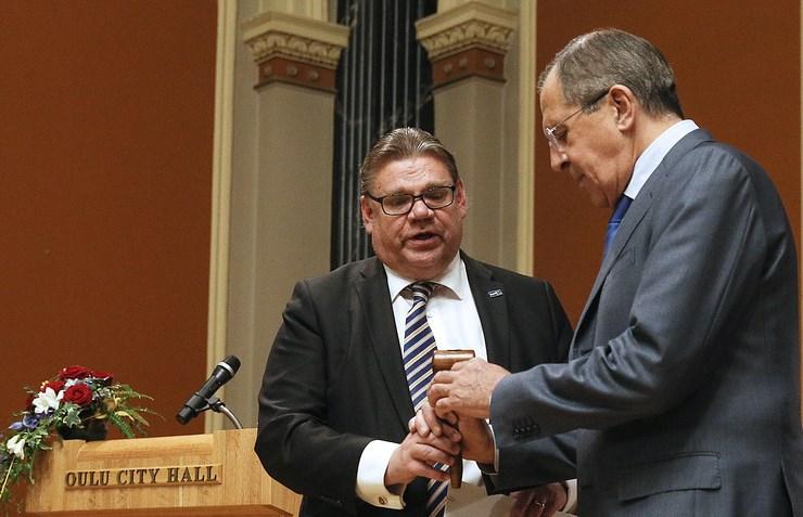 Министр иностранных дел Российской Федерации Сергей Лавров прибывает свизитом вФинляндию